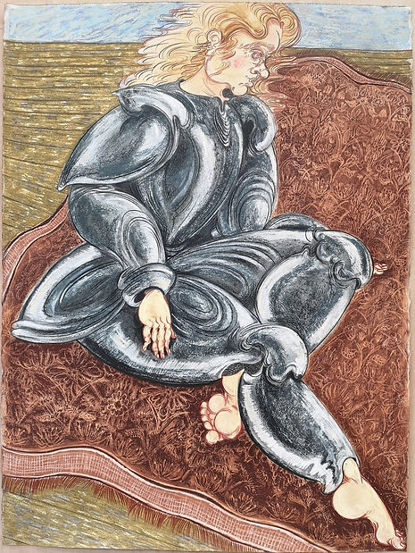 Carpet Knight_soft pastel and coloiured