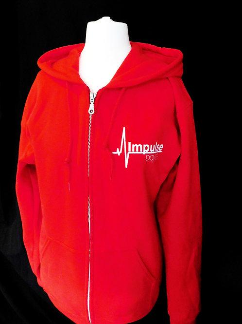 Impulse Red Hoodie with Zip