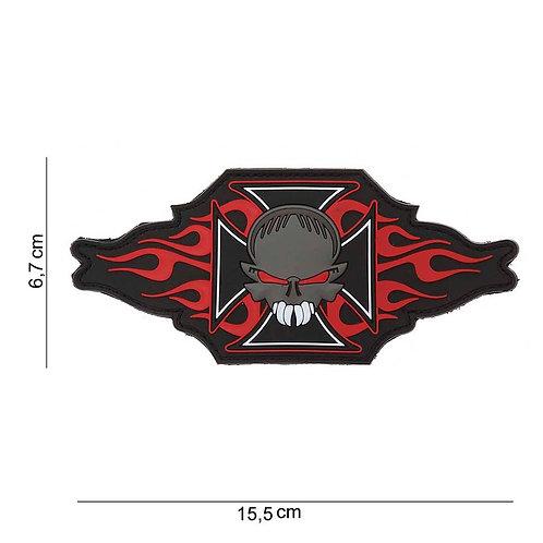 "Patch 3D PVC "" maltezer cross + skull/flames "" - 101 Inc"