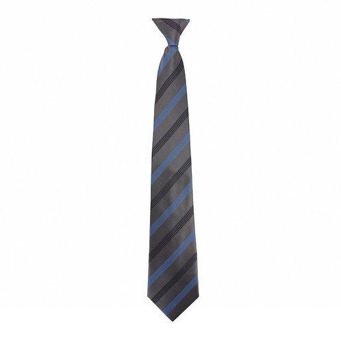 Cravate à clip Grise A 3 rayures Bleu Navy - VVS