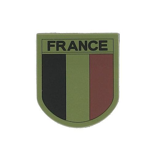 Écusson FRANCE silicone basse visi. contour Vert - Patrol