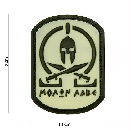 "Patch PVC "" Molon Labe Spartan WHITE "" - 101 Inc"