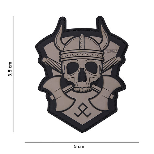 Patch 3D PVC Vicking with hatchet gris - 101Inc