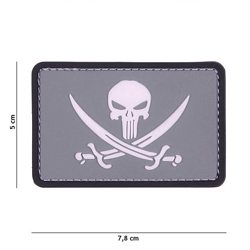 Patch 3D PVC Punisher pirate gris/blanc -101 Inc