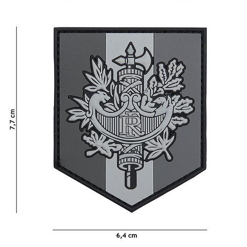 Patch 3D PVC French shield gris - 101 Inc