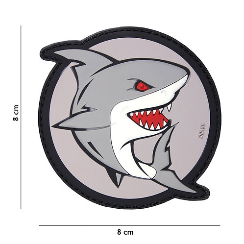 Patch 3D PVC attacking shark gris/rouge - 101 Inc