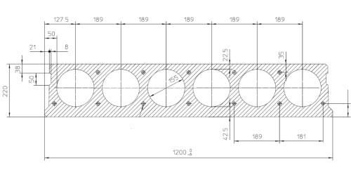 Чертеж плиты перекрытия с круглыми пустотами толщиной 220 мм