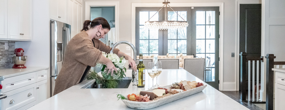 Sophisticated Town Home Kitchen Island Cheese Board Prep