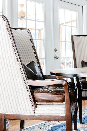Abstract Abode - Leather and pinstripe armchair
