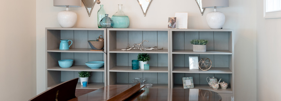 Coastal Casual - Curated Book Shelf and Piano