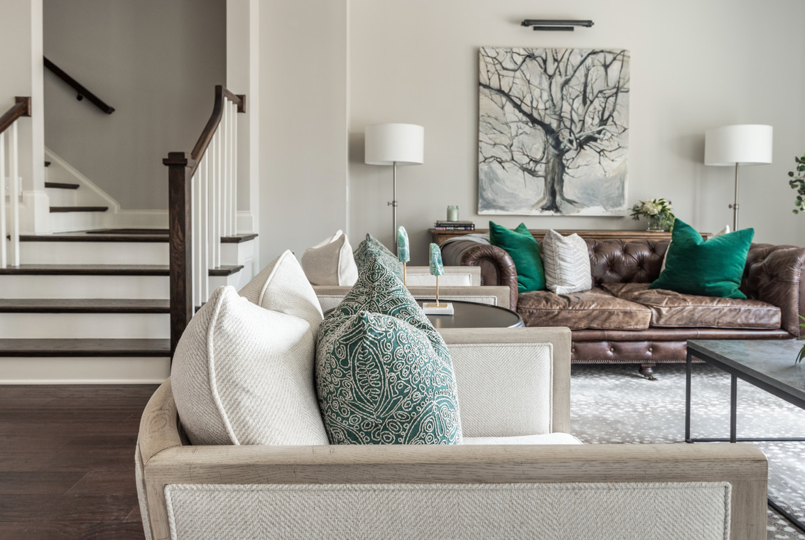 Sophisticated Town Home Living Room Two Chair Seating
