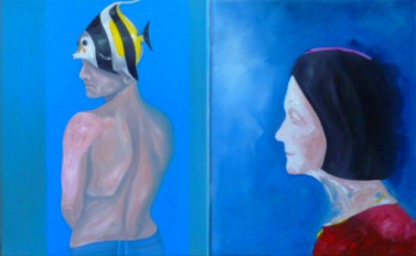 I Was Born A Fish Mum (diptych)