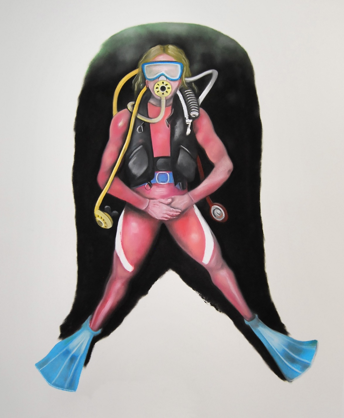 Self-Portrait in pink diving suit
