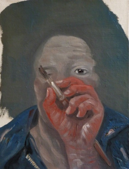 Self-Portrait with Red Hand