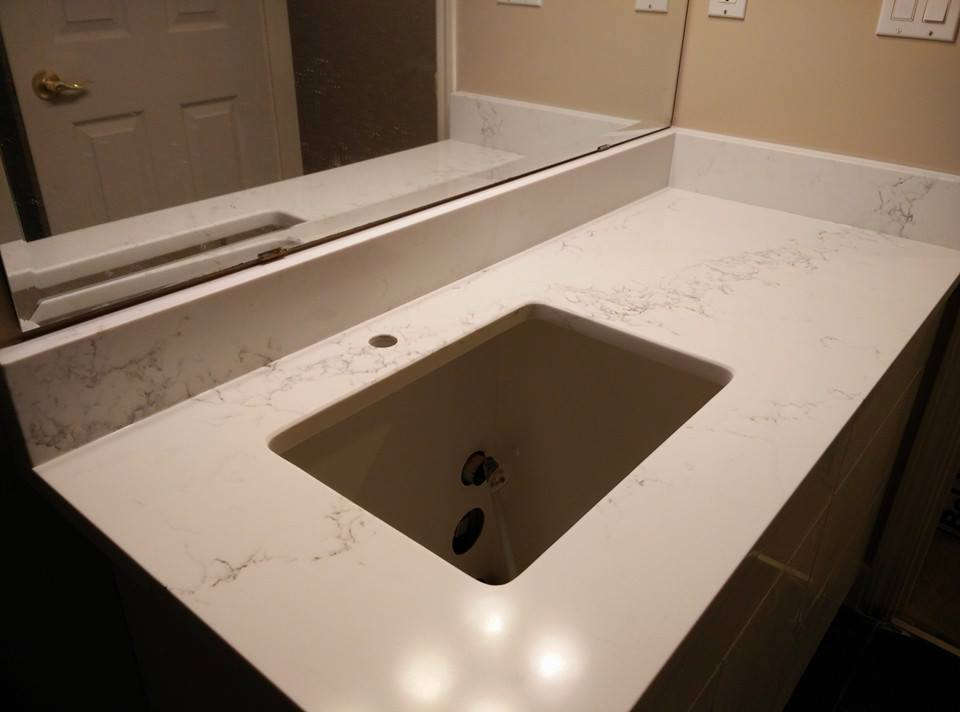Marble look quartz for vanity
