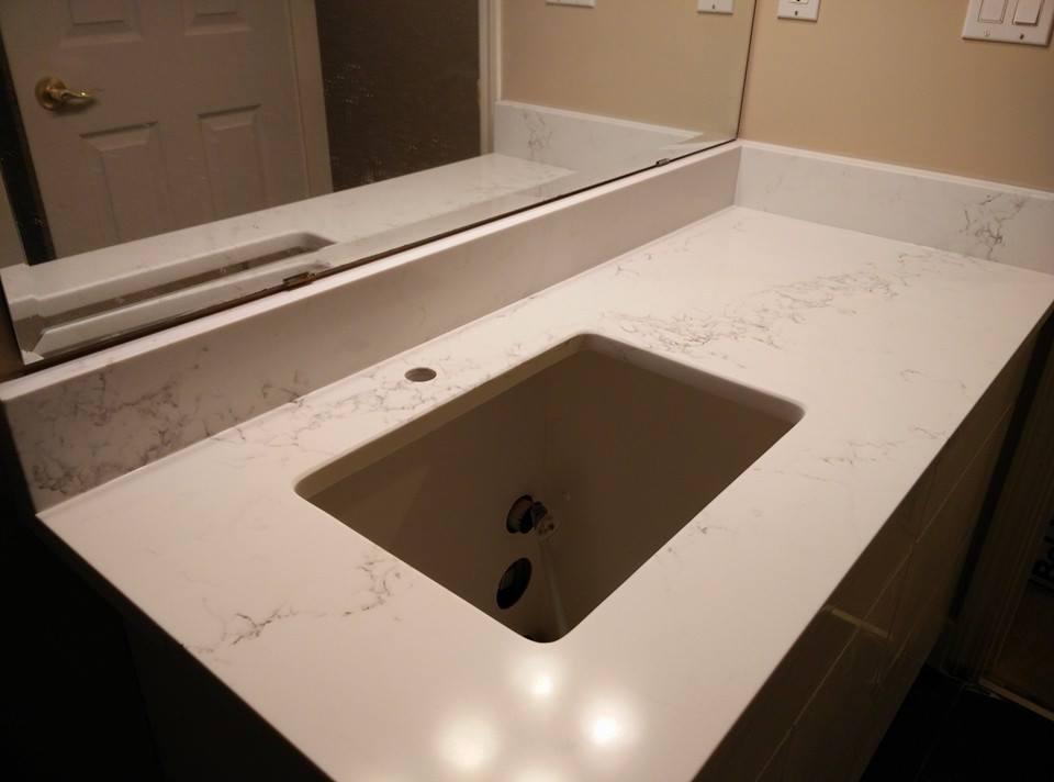 Marble look quartz for vanity