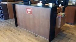 Black quartz reception countertop