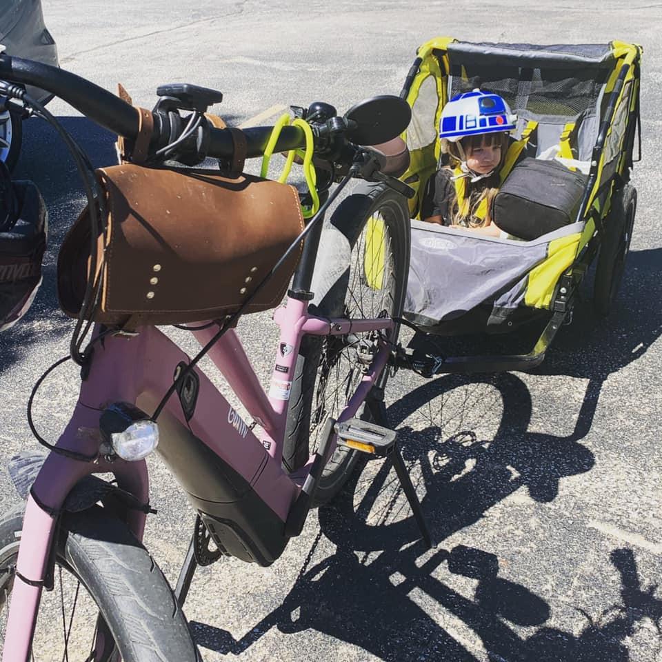child in bike trailer