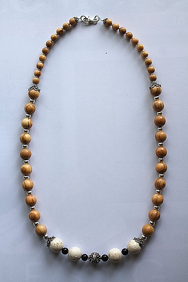 Necklace with olive wood, silver, marble (Brach stone) and Black corals