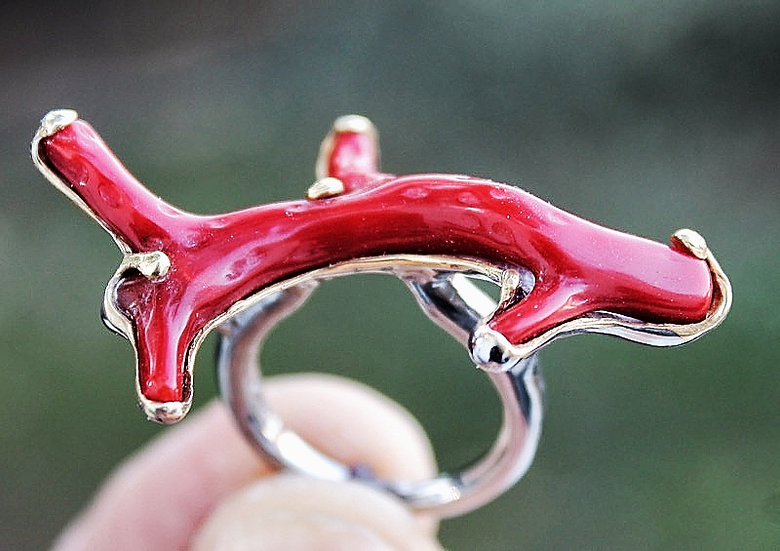 Silver Rind with Red Coral