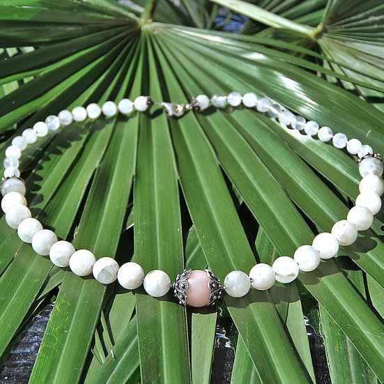 Natural stones necklace with silver details, mod 1
