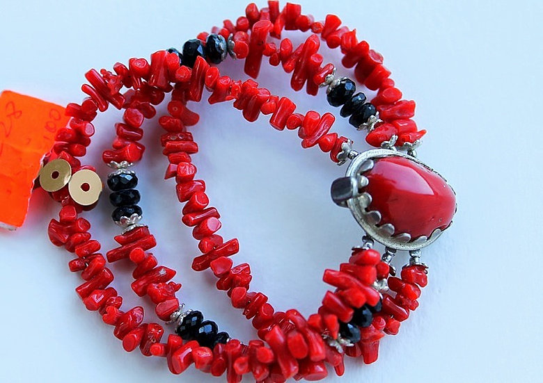 Silver bracelet  with Red Coral and natural stones