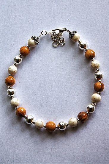 Bracelet with olive wood, silver and marble (Brach stone)
