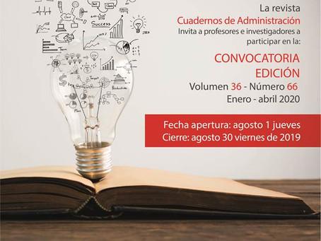 Llamada de artículos: Revista Cuadernos de Administración