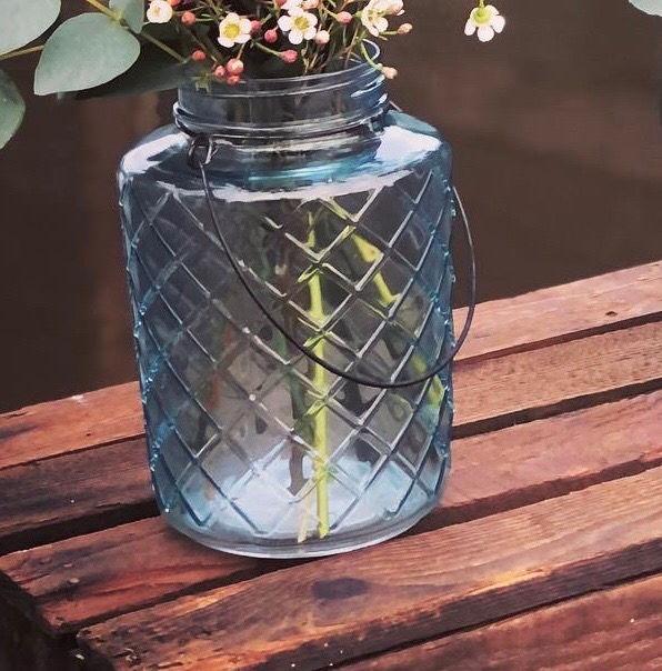 Azure lantern vase - flowers not inc