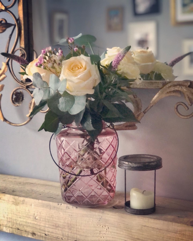 Rose lantern vase - flowers not inc