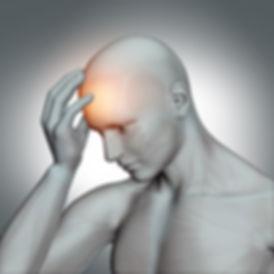 A man with a headach or head pain.