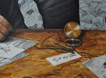 «Compas et boussole» : inspiré des ses effets personnels et du nécessaire du capitaine Némo réalisé par Mickaël Ourghanlian ( Musée de Nantes ).  «Carte de visite» : inspirée d'une des cartes de visite de Jules Verne et sa femme, encadrées au Musée d'Amiens.