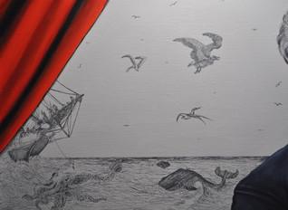 """Univers inspiré des illustrations réalisées par Édouard Riou et Alphonse de Neuville pour le roman """"Vingt mille lieues sous les mers""""."""
