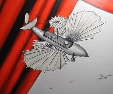 Maquette d'avion suspendue : inspirée d'une maquette du Musée de Jules Verne à Amiens.