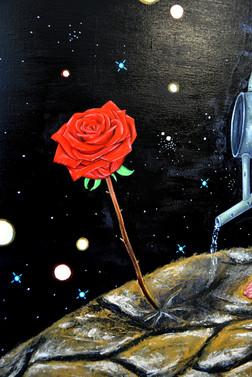 Inspiré d'une des aquarelle, il arrose sa précieuse rose rouge. La rose symbolise la femme. La relation du petit prince avec la rose ressemble à celle qui liait l'auteur à sa mère car il était très attaché à celle-ci. Le petit prince est très attaché à sa rose, il apprécie surtout sa tendresse et la première fois qu'il éclate en sanglot c'est à l'idée qu'il risquerait, peut-être, de perdre sa fleur; la deuxième fois étant juste avant de la quitter. De plus, dès que la rose demande à boire et à être cachée du vent, il se hâte, tout confus, de lui apporter l'arrosoir et de chercher le paravent comme s'il craignait qu'elle ne boude. D'autre part cette rose est un mélange de fragilité, d'orgueil, même de coquetterie, et un peu de ruse. Le petit prince découvre que l'amour peut avoir des épines, et décide alors de quitter sa planète, d'explorer les étoiles en quête d'amis.