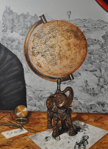 «Globe terrestre et éléphant» : inspiré de son globe ( Musée Jules Verne à Nantes ) et l'éléphant rappel le roman 'La Maison à Vapeur' et l'éléphant mécanique.   «Invitation» :  Jules Verne fréquentait un club de célibataires appelé les 'Onze sans femme', inspiré d'une réelle invitation.