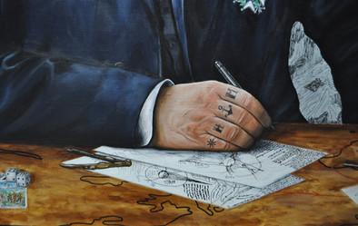 Sur la main de Jules Verne il y a 2 symboles, une ancre et une barre de navire, ainsi que les lettres H pour sa femme Honorine et la lettre M pour son fils Michel.   «Les écrits» : inspiré de ses propres écrits pour le roman 'Autour de la Lune'( Musée Jules Verne à Nantes )