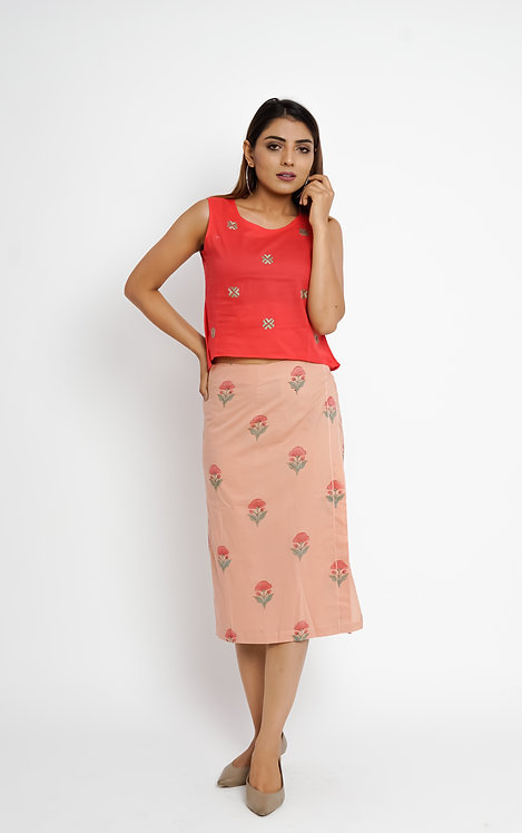 HunarWE Peach Floral Printed Skirt
