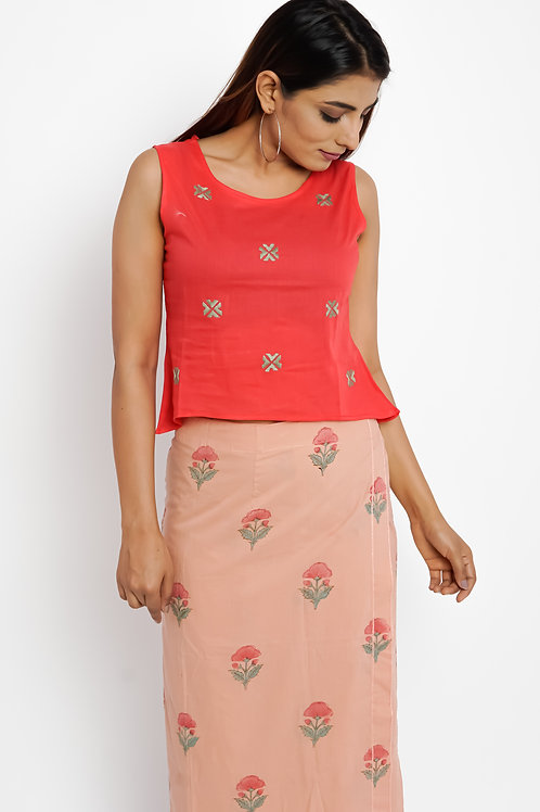 HunarWE Red Floral Embroidered Top