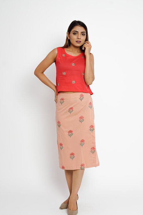 HunarWE Red Floral Embroidered Top With Peach Floral Skirt