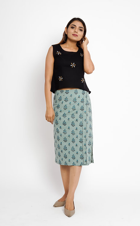 HunarWE Light Green Printed Skirt