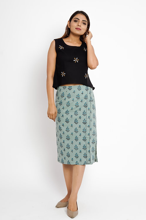 HunarWE Light Green Printed Skirt