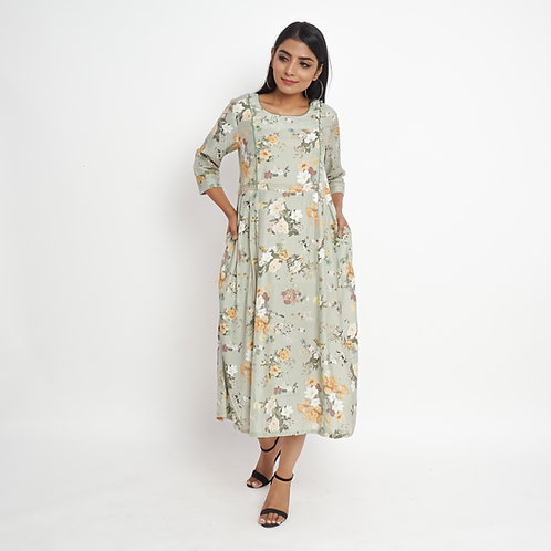 HunarWE Dim Green Floral Print High Waist Muslin Silk Maxi Dress