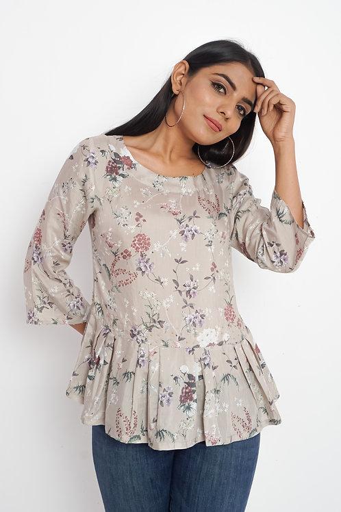 HunarWE Pastel Greyish Pink Floral Print Muslin Silk Frock Top