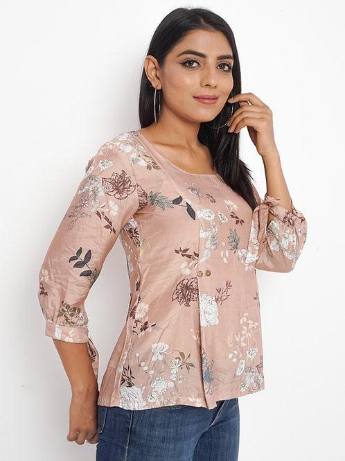HunarWE Pastel Rosy Brown Floral Print Pleated Muslin Silk Top
