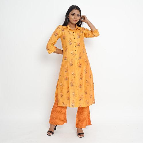 HunarWE Orange Yellow Floral Muslin Silk Kurta