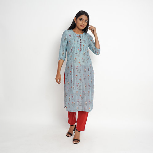 HunarWE Pastel Greyish Blue Floral Sequin Muslin Silk Kurta With Solid Red Pants