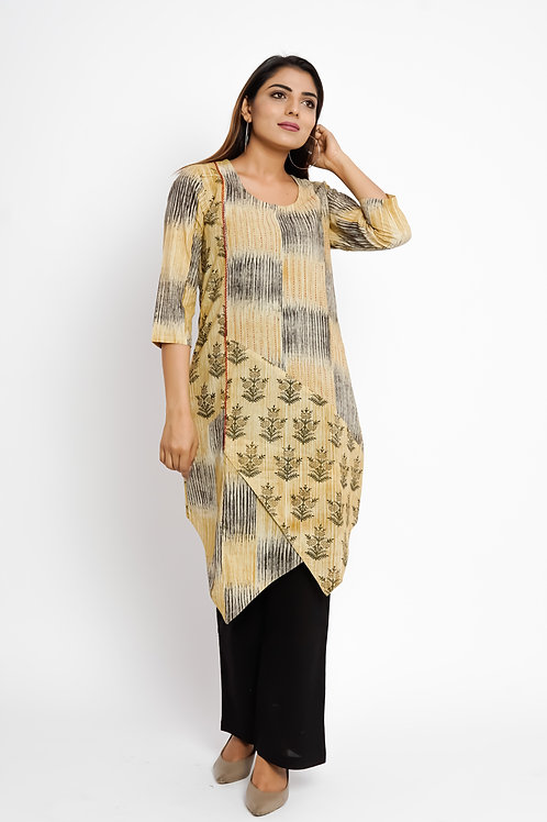 HunarWE Beige Abstract High Low Kurta With Solid Back Pants