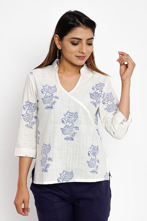 HunarWE White Floral Printed Cotton Top