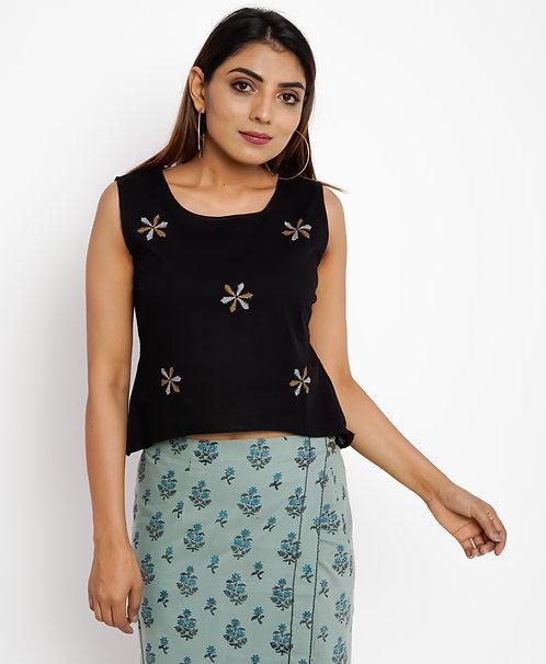 HunarWE Black Floral Embroidered Top